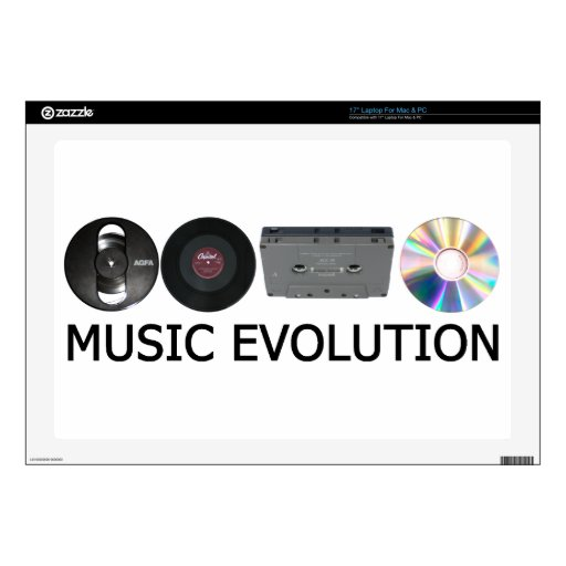 """Music evolution decal for 17"""" laptop"""