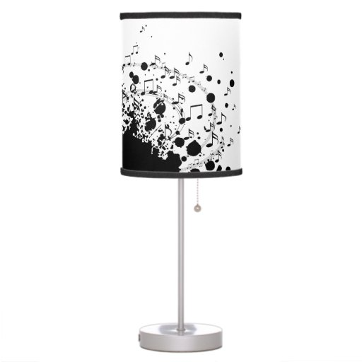 music explosion design black and white table lamp zazzle. Black Bedroom Furniture Sets. Home Design Ideas