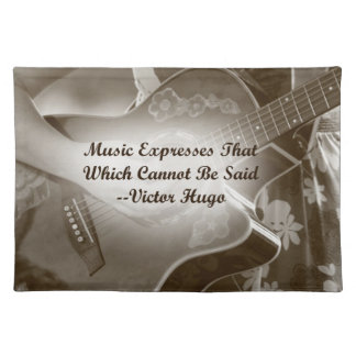 Music Expresses that guitar photo saying Cloth Placemat