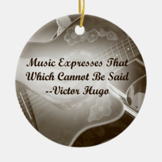 Music Expresses that guitar photo saying Double-Sided Ceramic Round Christmas Ornament