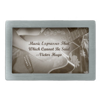 Music Expresses that guitar photo saying Rectangular Belt Buckle