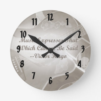 Music Expresses that guitar photo saying Round Clock