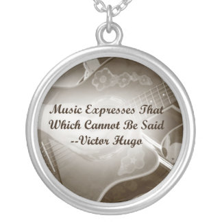 Music Expresses that guitar photo saying Round Pendant Necklace