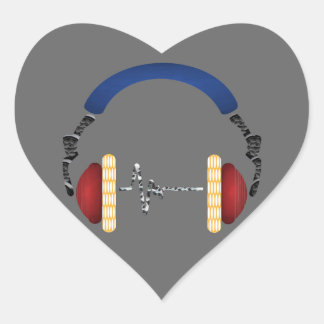 Music Fascination Head Phone Heart Sticker