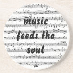 Music feeds the soul beverage coasters