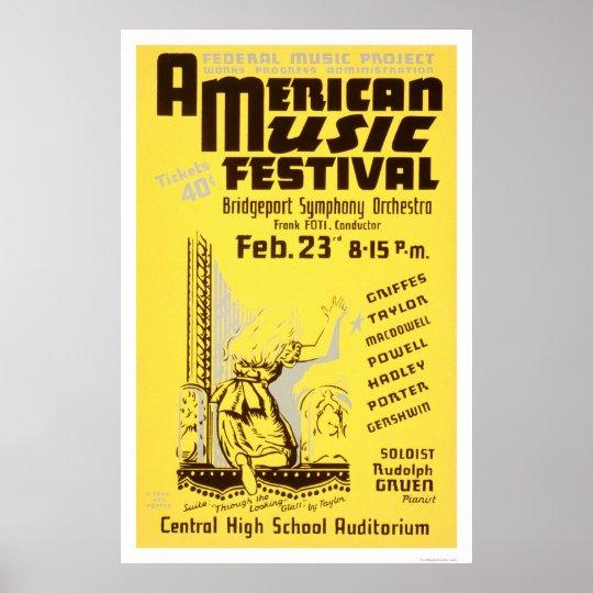 Music Festival America 1938 WPA Poster