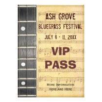 Music Festival Pass Banjo Bluegrass Theme Announcement at Zazzle