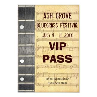 Music Festival Pass Banjo Bluegrass Theme (S) 3.5x5 Paper Invitation Card