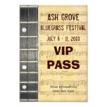 Music Festival Pass Banjo Bluegrass Theme (s) Card at Zazzle