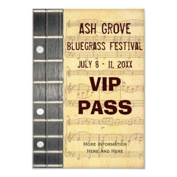 Music Festival Pass Banjo Bluegrass Theme (s) Card by DigitalDreambuilder at Zazzle