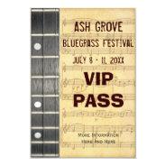 Music Festival Pass Banjo Bluegrass Theme (S) 3.5x5 Paper Invitation Card at Zazzle