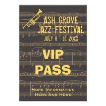 Music Festival Pass Golden Trumpet Chocolate (S) Custom  Invitations at Zazzle