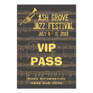 Music Festival Pass Golden Trumpet Chocolate (S) Custom Invitations