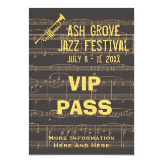 Music Festival Pass Golden Trumpet On Chocolate 5x7 Paper Invitation Card