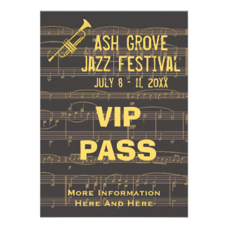 Music Festival Pass Golden Trumpet On Chocolate Cards
