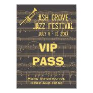 Music Festival Pass Golden Trumpet On Chocolate Invitation at Zazzle