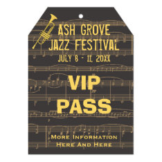 Music Festival Pass Golden Trumpet (tag Style) Card at Zazzle