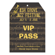 Music Festival Pass Golden Trumpet (Tag Style) Personalized  Invitations at Zazzle