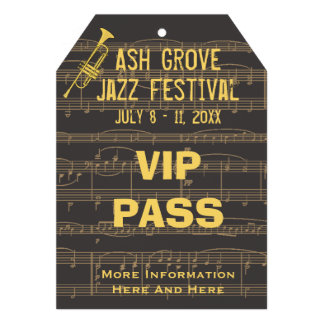 Music Festival Pass Golden Trumpet (Tag Style) Personalized Invitations