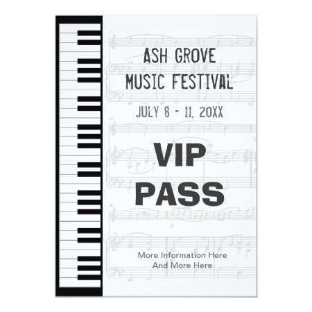 Music Festival Pass Piano Keyboard Theme Template