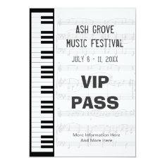 Music Festival Pass Piano Keyboard Theme Template Card at Zazzle