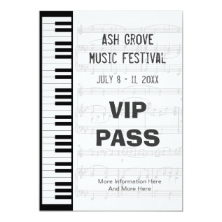 Music Festival Pass Piano Keyboard Theme Template Card at Zazzle
