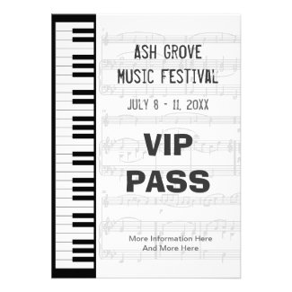 Music Festival VIP Pass with a Piano Keyboard Theme