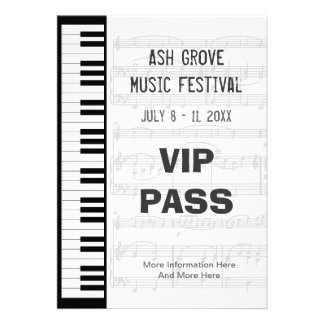 Music Festival Pass Piano Keyboard Theme Template Personalized Invitation