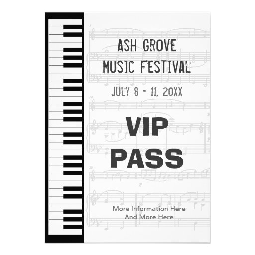 music festival pass piano keyboard theme template 5x7 paper invitation card zazzle. Black Bedroom Furniture Sets. Home Design Ideas