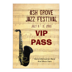 Music Festival Pass Saxophone Music Theme Template Card at Zazzle
