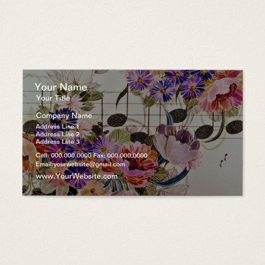 Music field Yellow flowers Business Card