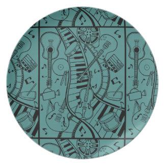 Music Film Festival Line Art Design Melamine Plate