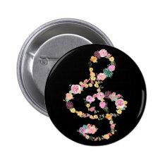 music floral treble clef on black pinback button at Zazzle