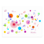 Music (flowers & dots 1) post card