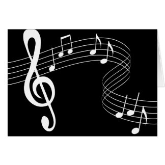 Music Flows White on Black Greeting Card