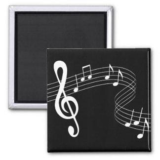 Music Flows White on Black  Magnet