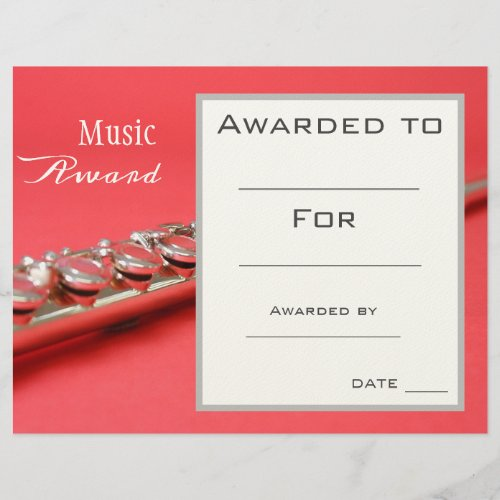 Music flute award certificate music teacher