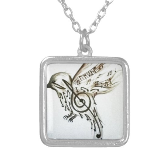 Music flys silver plated necklace