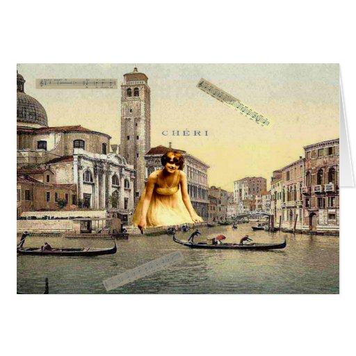Music Follows You Into Fantasy, Cheri. (Surrealist Greeting Card