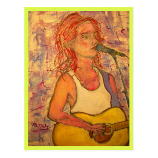 music for peace acoustic girl postcard