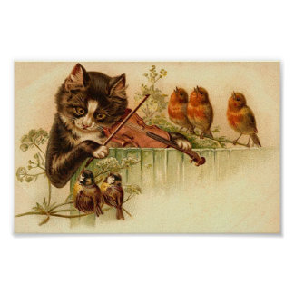 Music For The Birds, Cat and Birds Poster