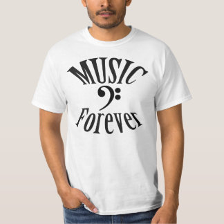 """""""Music Forever"""" Bass Clef T Shirt"""