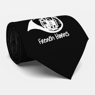 Music French Horn Funny Slogan Graphic Neck Tie