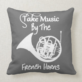 Music French Horn Funny Slogan Graphic Throw Pillow