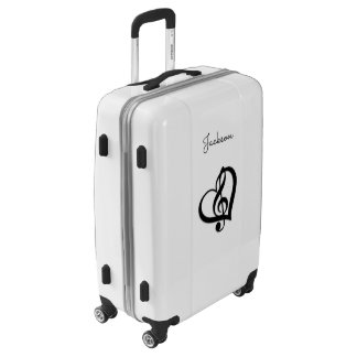 Music G Clef Heart Black and White Luggage