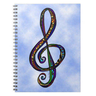 Music G Clef in the Clouds Notebook (80 Pages B&W)