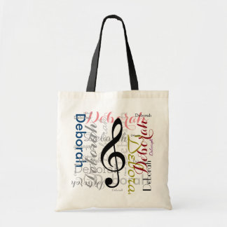 music g-clef note with color name tote bag