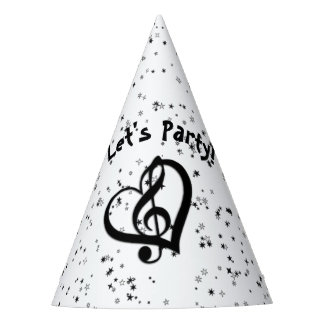 Music G Heart Glitter Look Party Hat