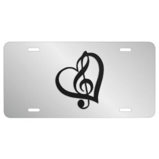 Music G Heart on Silver License Plate