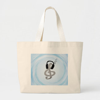Music Gclef with headset Jumbo Tote Bag